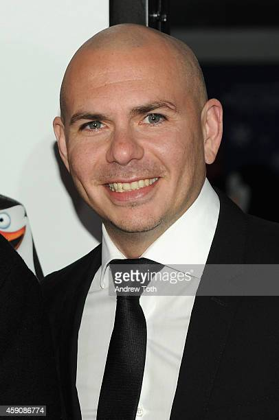 Rapper Pitbull attends 'Penguins Of Madagascar' New York premiere at Winter Village at Bryant Park Ice Rink on November 16 2014 in New York City