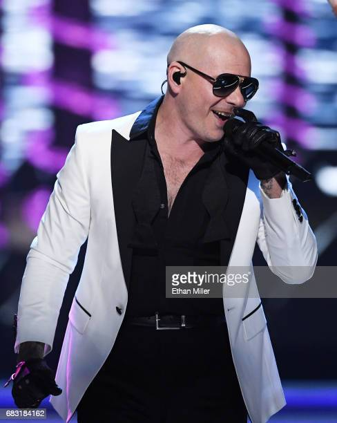 Rapper Pitbull performs during the 2017 Miss USA pageant at the Mandalay Bay Events Center on May 14 2017 in Las Vegas Nevada