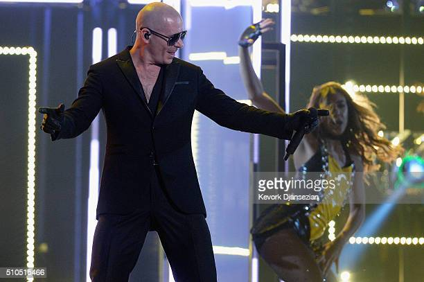 Rapper Pitbull performs onstage during The 58th GRAMMY Awards at Staples Center on February 15 2016 in Los Angeles California