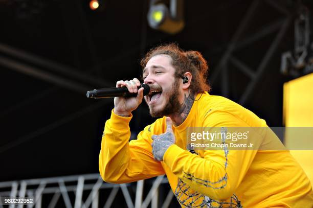Rapper Post Malone performs at Infield Fest prior to the 143rd Preakness Stakes at Pimlico Race Course on May 19 2018 in Baltimore Maryland