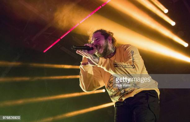 Rapper Post Malone performs in concert at Austin360 Amphitheater on June 16 2018 in Austin Texas