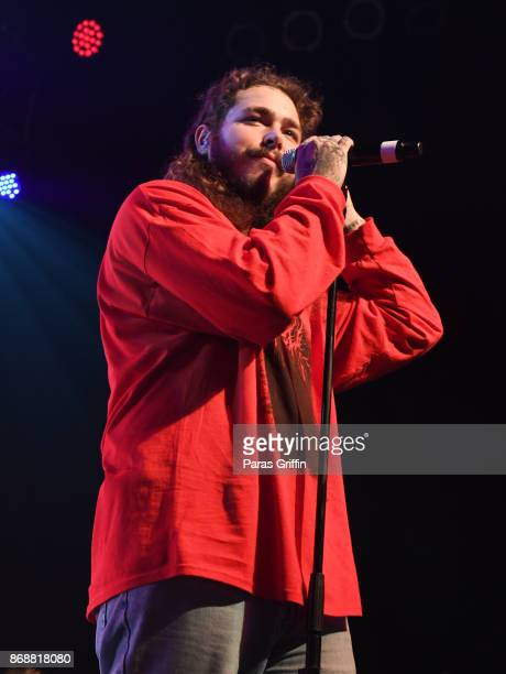 Rapper Post Malone performs in concert at Center Stage on October 31 2017 in Atlanta Georgia