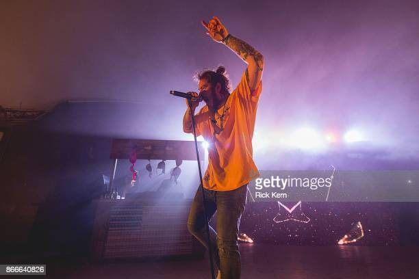 Rapper Post Malone performs in concert at Stubb's BarBQ on October 25 2017 in Austin Texas
