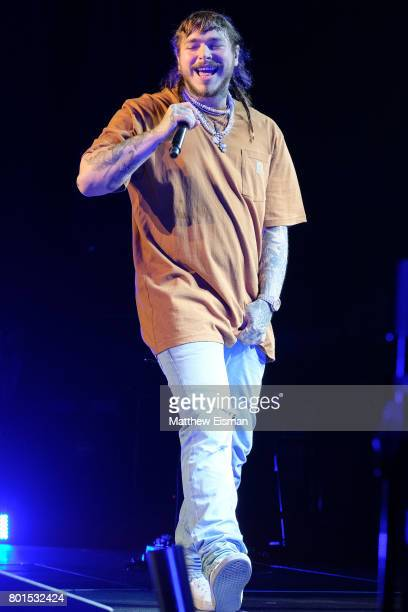 Rapper Post Malone performs live on stage at The Theater at Madison Square Garden on June 26 2017 in New York City