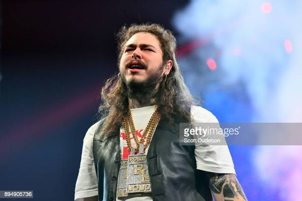 Rapper Post Malone performs onstage during day two of the Rolling Loud Festival at NOS Events Center on December 17 2017 in San Bernardino California