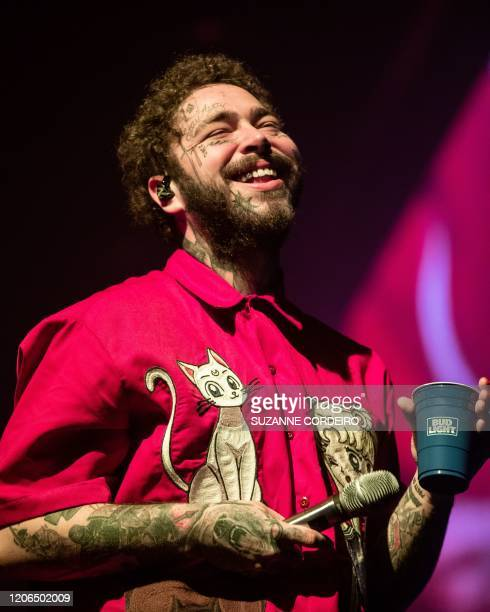 "Rapper Post Malone performs onstage during his ""Runaway"" Tour at the Frank Erwin Center on March 10, 2020 in Austin, Texas."