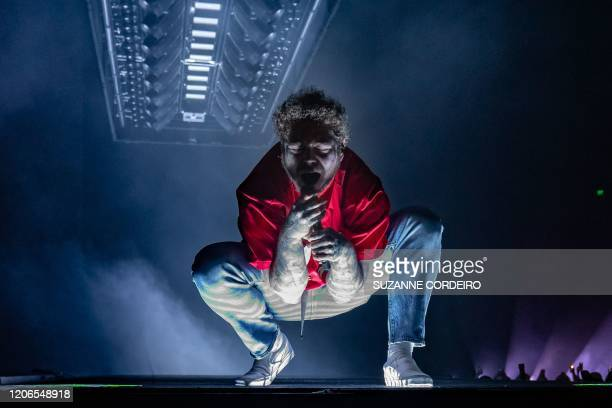 """Rapper Post Malone performs onstage during his """"Runaway"""" Tour at the Frank Erwin Center on March 10, 2020 in Austin, Texas."""