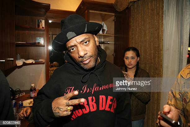 Rapper Prodigy of Mobb Deep backstage at Blue Note Jazz Club on April 12 in New York City