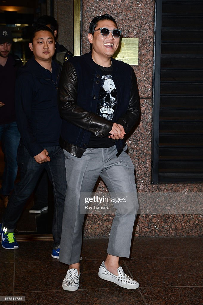 Rapper Psy leaves the Universal Republic office building on April 25, 2013 in New York City.