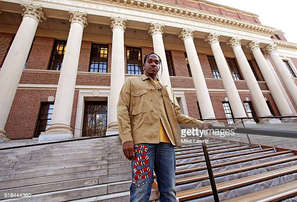 Rapper Pusha T Poses Outside The Widener Library On March 31 2016 At Harvard University In