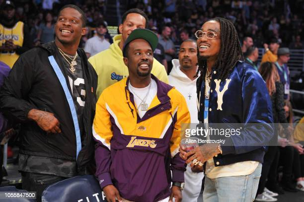 Rapper Quavo of Migos attends a basketball game between the Los Angeles Lakers and the Dallas Mavericks at Staples Center on October 31 2018 in Los...