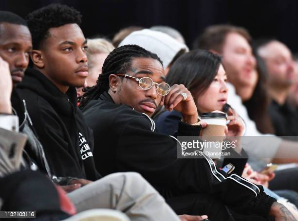 Rapper Quavo of Migos attends a basketball game between the Los Angeles Lakers and Brooklyn Nets at Staples Center on March 22 2019 in Los Angeles...
