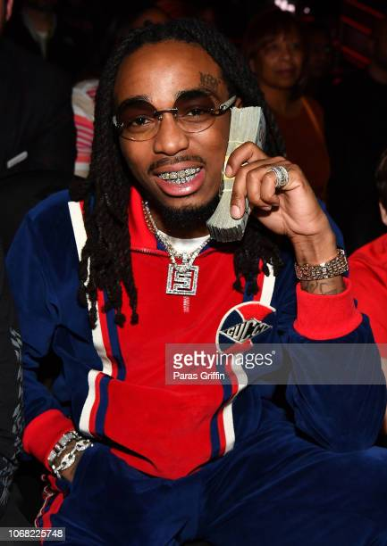 Rapper Quavo of the Migos attends The Golden State Warriors vs Atlanta Hawks Game at State Farm Arena on December 3 2018 in Atlanta Georgia