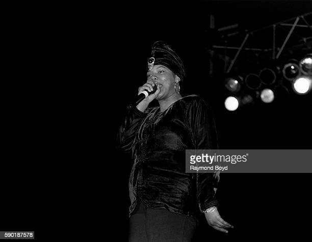 Rapper and actress Queen Latifah performs at the Genesis Center in Gary Indiana in January 1989