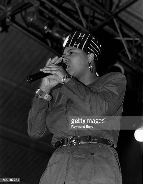 Rapper Queen Latifah performs at the U.I.C. Pavilion in Chicago, Illinois in February 1990.