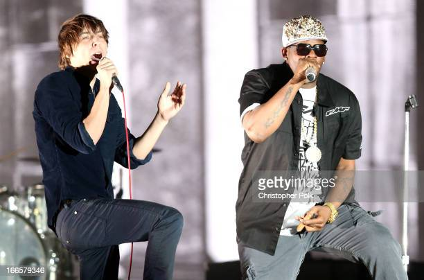 Rapper R Kelly performs with musician Thomas Mars of Phoenix onstage during day 2 of the 2013 Coachella Valley Music Arts Festival at the Empire Polo...