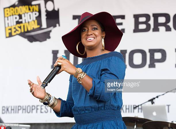 Rapper Rapsody performs during the 12th Annual Brooklyn Hip Hop Festival finale concert at Brooklyn Bridge Park on July 16 2016 in New York City