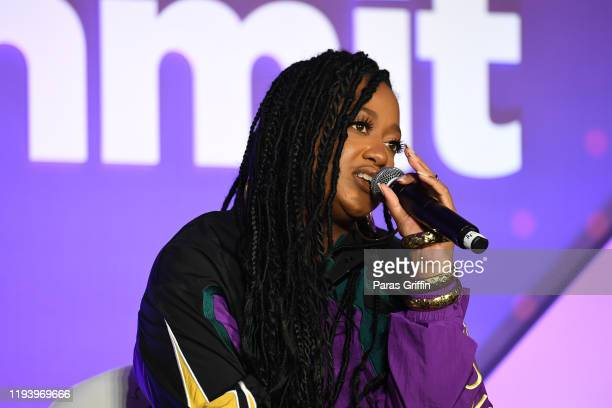 Rapper Rapsody speaks onstage during ESSENCE New Voices Entrepreneur Summit And Target Holiday Market at West End Production Park on December 14 2019...