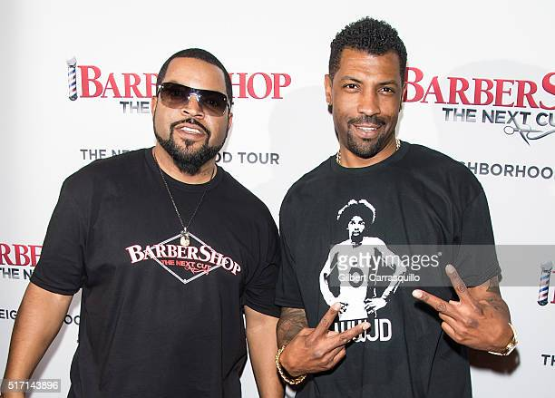 Rapper record producer actor filmmaker Ice Cube and actor comedian comedy writer Deon Cole attend Barbershop The Next Cut Philadelphia screening at...
