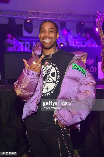 Rapper Reese Laflare attends Trap Du Soleil Celebrating YFN Lucci on February 13 2018 in Atlanta Georgia