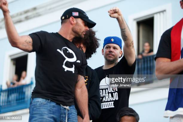 Rapper Residente and Ricky Martin join thousands of demonstrators protesting against Ricardo Rossello the Governor of Puerto Rico July 17 2019 in...