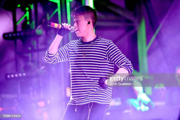 Rapper Rich Brian performs onstage during the 88 Rising Head in the Clouds Festival at Los Angeles State Historic Park on September 22 2018 in Los...