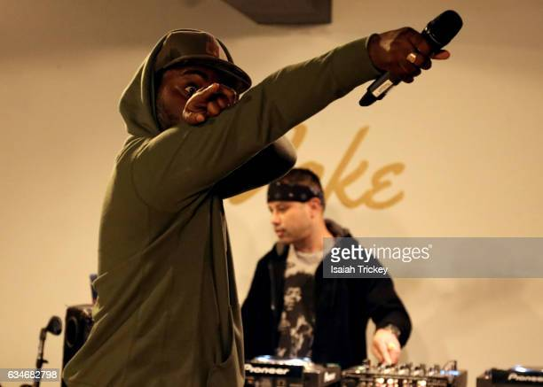 Rapper Rich Kidd and DJ Power perform during 'Woke' a hip hop and soul concert at the Harbourfront Centre on February 10 2017 in Toronto Canada