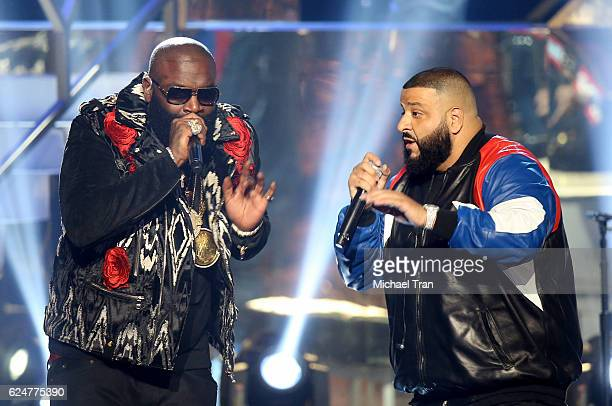 Rapper Rick Ross and DJ Khaled perform onstage during the 2016 American Music Awards held at Microsoft Theater on November 20 2016 in Los Angeles...