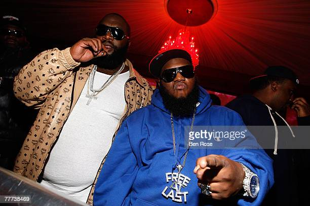 Rapper Rick Ross and Rapper Freeway attend a party hosted by JayZ at the Velvet Room November 4 2007 in Atlanta Georgia