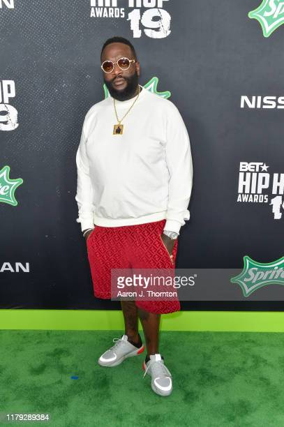 Rapper Rick Ross arrives to the 2019 BET Hip Hop Awards on October 05, 2019 in Atlanta, Georgia.