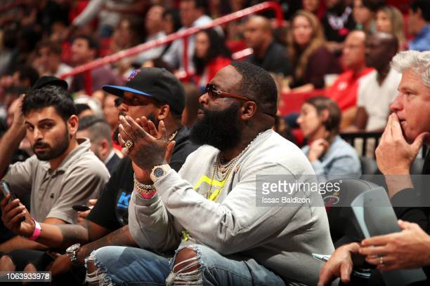 Rapper Rick Ross attends a game between the Brooklyn Nets and Miami Heat on November 20 2018 at American Airlines Arena in Miami Florida NOTE TO USER...