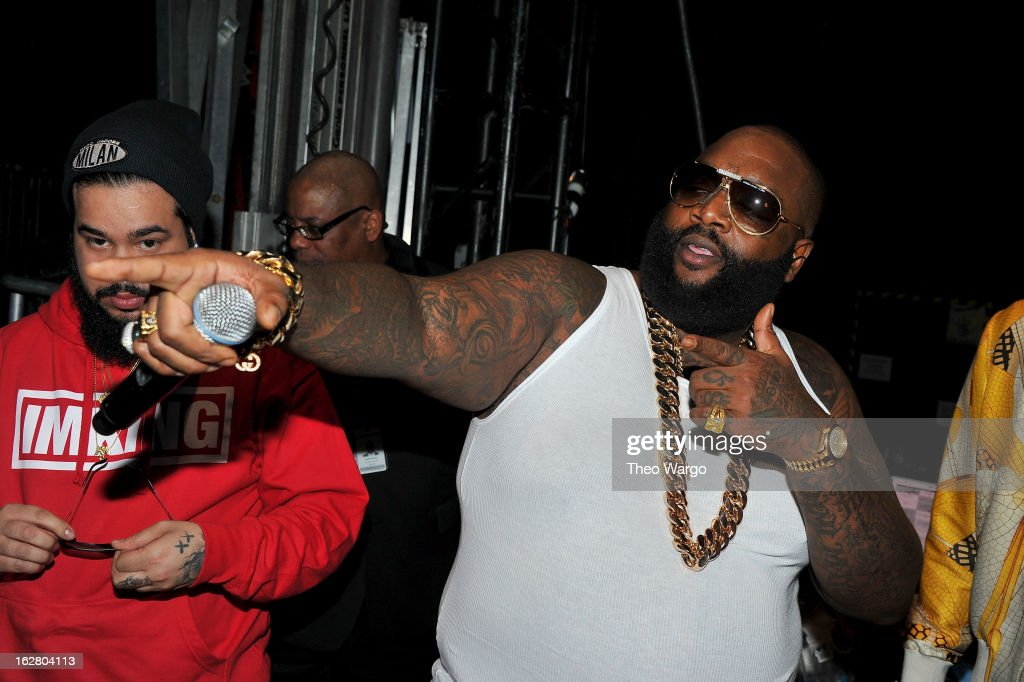 Rapper Rick Ross attends BET's Rip The Runway 2013:Backstage Hammerstein Ballroom on February 27, 2013 in New York City.