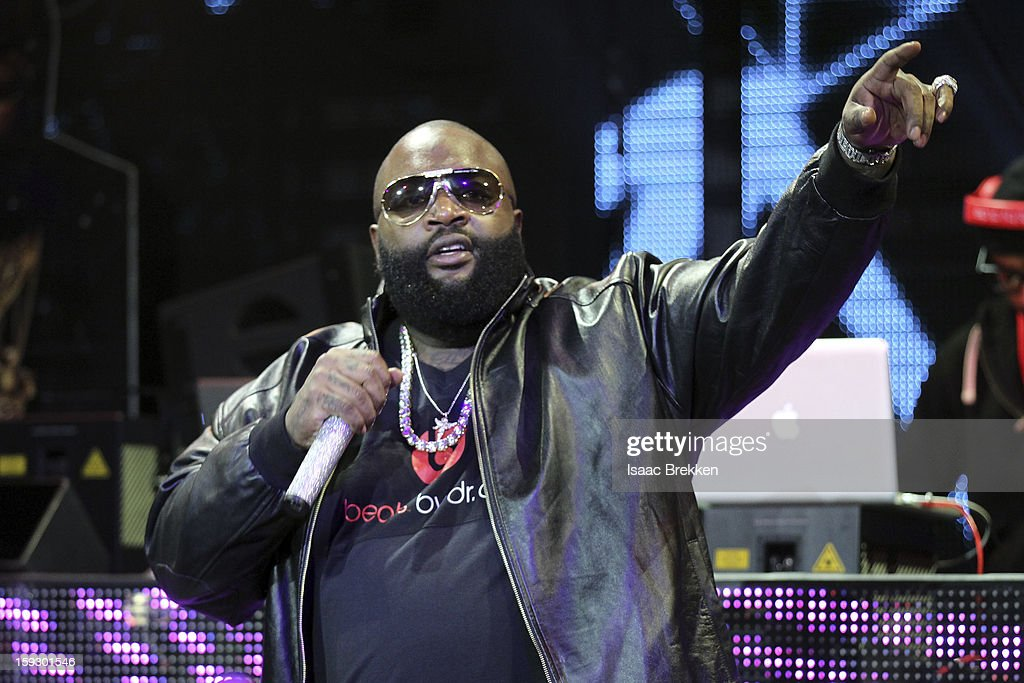 Rapper Rick Ross performs at the Beats by Dr. Dre CES after-party at the Marquee Nightclub at The Cosmopolitan of Las Vegas on January 10, 2013 in Las Vegas, Nevada.