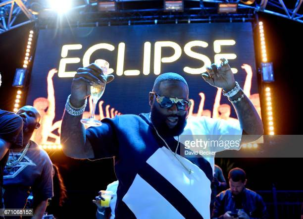 Rapper Rick Ross performs at the official Eclipse launch party at Daylight Beach Club at the Mandalay Bay Resort and Casino on April 21 2017 in Las...