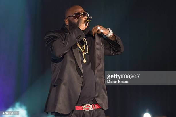 Rapper Rick Ross performs during Atlanta Greek Picnic weekendDay 1 at Morehouse College Forbes Arena on June 5 2015 in Atlanta Georgia