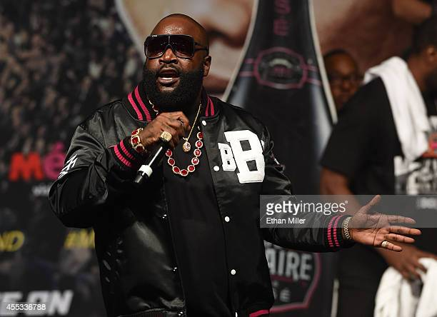 Rapper Rick Ross performs during the official weighin for WBC/WBA welterweight champion Floyd Mayweather Jr and Marcos Maidana at the MGM Grand...