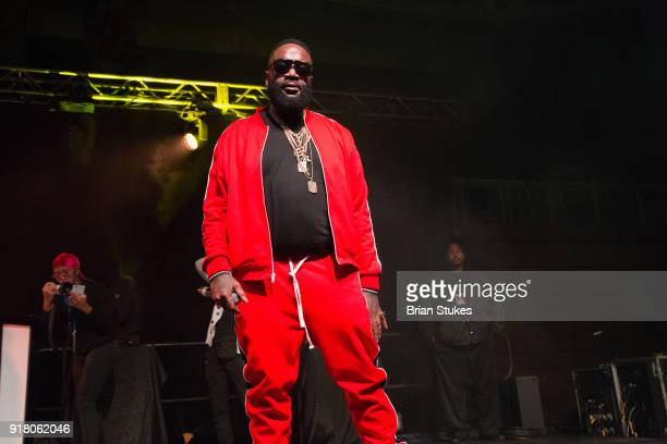 Rapper Rick Ross performs live onstage at Coppin State University Homecoming on February 13 2018 in Baltimore Maryland