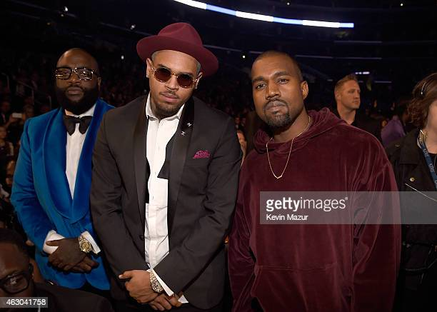 Rapper Rick Ross, recording artist Chris Brown and recording artist Kanye West attend The 57th Annual GRAMMY Awards at STAPLES Center on February 8,...