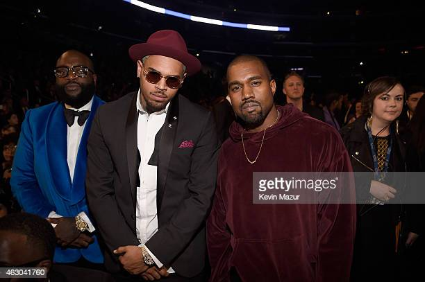 Rapper Rick Ross recording artist Chris Brown and recording artist Kanye West attend The 57th Annual GRAMMY Awards at STAPLES Center on February 8...