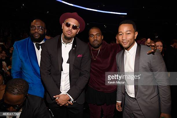 Rapper Rick Ross recording artist Chris Brown recording artist Kanye West and musician John Legend attend The 57th Annual GRAMMY Awards at STAPLES...