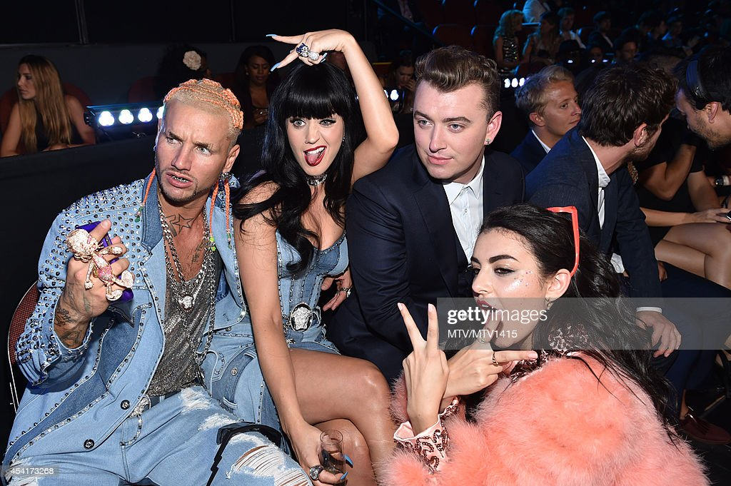 Rapper Riff Raff, recording artist Katy Perry, recording artist Sam Smith and singer Charli XCX attend attend the 2014 MTV Video Music Awards at The Forum on August 24, 2014 in Inglewood, California.