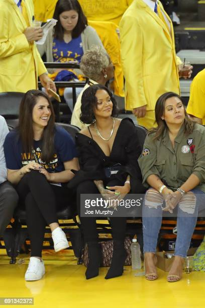 Rapper Rihanna attends Game One of the 2017 NBA Finals between he Cleveland Cavaliers and the Golden State Warriors on June 1 2017 at Oracle Arena in...