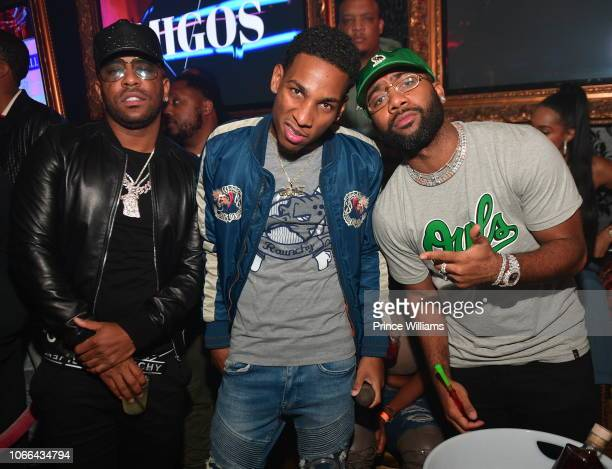 Rapper Rocko Fly Guy DC and Jas Prince attend Moneybagg Yo Reset Album Release Party at Compound on November 11 2018 in Atlanta Georgia