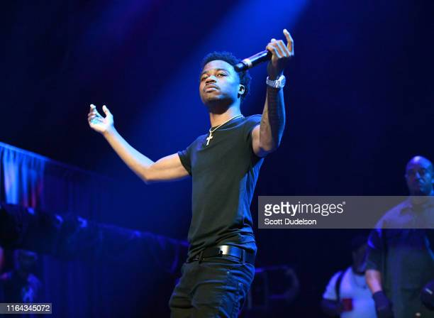 Rapper Roddy Ricch performs onstage during the XXL Freshman Concert at The Novo Theater at LA Live on July 25 2019 in Los Angeles California