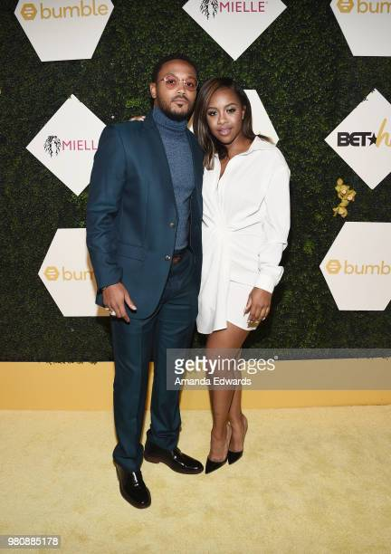 Rapper Romeo Miller and brand manager Miss Diddy arrive at the BET Her Awards Presented By Bumble at The Conga Room at LA Live on June 21 2018 in Los...