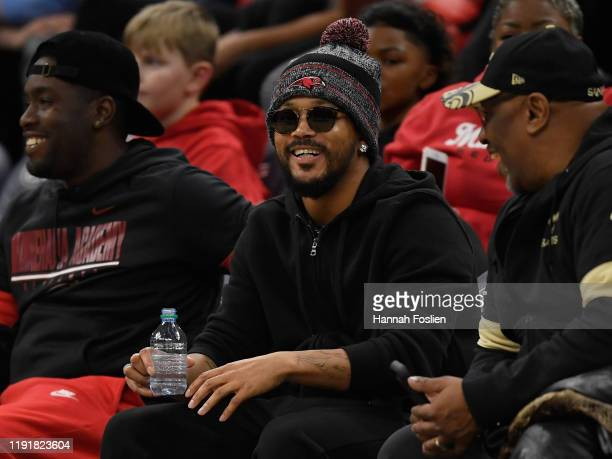 Rapper Romeo Miller sits court side to during the second half of the game between the Sierra Canyon Trailblazers and the Minnehaha Academy Red Hawks...