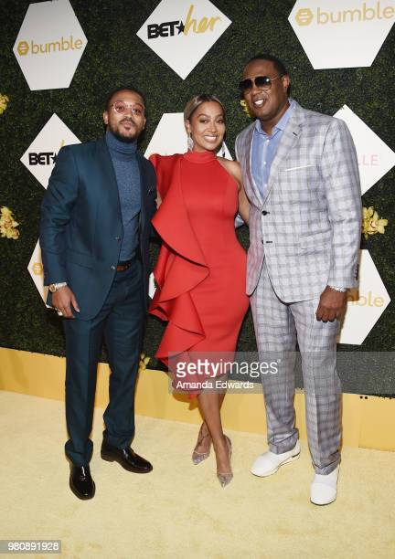 Rapper Romeo Miller television personality La La Anthony and rapper Master P arrive at the BET Her Awards Presented By Bumble at The Conga Room at LA...