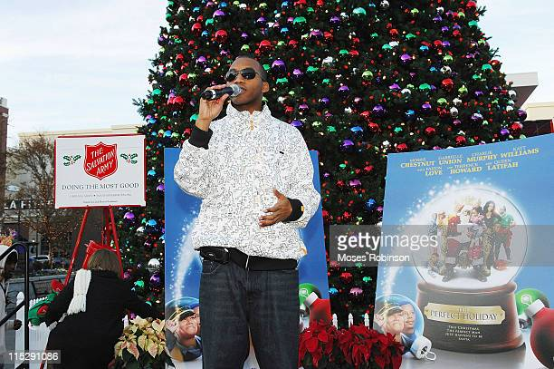 Rapper Romeo talks to the crowd at the Salvation Army's Angel Tree Program hosted by The Salvation Army on December 6 2007 in Atlanta Georgia