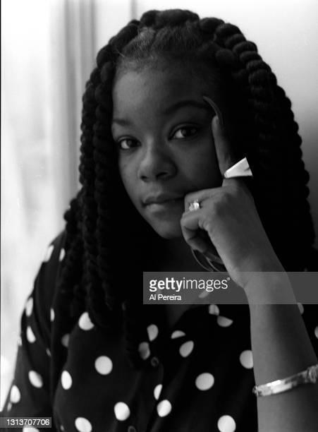 Rapper Roxanne Shante appears in a portrait taken on April 10, 1990 in New York City.