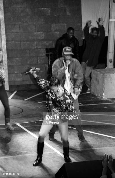 """Rapper Roxanne Shante performs at the """"Sisters In The Name Of Rap"""" concert and television special at The Ritz on October 8, 1991 in New York City."""